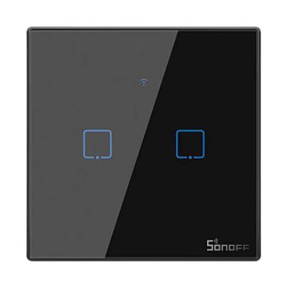 Sonoff - Smart Wall Switch T3EU2C-TX / 2-fach Taster - schwarz - WLAN / 433MHz