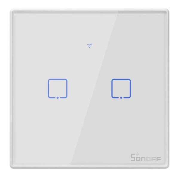 Sonoff - Smart Wall Switch T2EU2C-TX / 2-fach Taster - weiß - WLAN / 433MHz